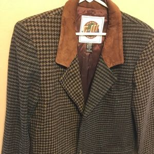 Brown/black Tweed blazer with suede collar